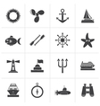 Black Marine and sea icons vector image