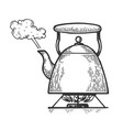 boiling kettle teapot engraving style vector image vector image
