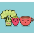 broccoli strawberry cartoon graphic vector image