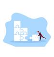 businessman making puzzle career ladder jigsaw vector image