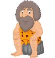 cartoon caveman sitting vector image vector image