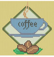 Coffee cup icon on knitted background vector image