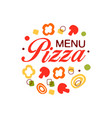 colorful flat logo for pizza menu in circle shape vector image vector image
