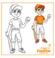 cute boy in baseball suit with ball and bat cplpr vector image vector image