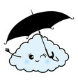 cute cloud with an umbrella vector image