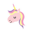 cute unicorn head with horn and hairstyle vector image vector image