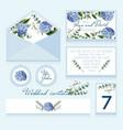 Delicate wedding invitation in blue color