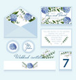 delicate wedding invitation in blue color vector image