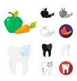 dental care cartoonblackflatmonochromeoutline vector image vector image