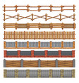 different seamless wood and brick fences vector image vector image