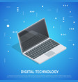 digital technology square banner with copy space vector image vector image