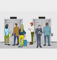 group people are waiting for elevator vector image vector image