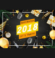 happy new year 2018 greeting card with elements vector image vector image