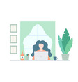 happy women working at home with laptop concept vector image vector image