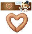 heart shaped pretzel cookie cartoon vector image