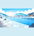 landscape of winter village houses near mountain vector image vector image
