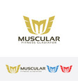 letter m - muscle fitness gladiator logo design vector image vector image