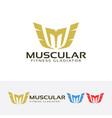 letter m - muscle fitness gladiator logo design vector image
