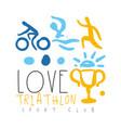 love triathlon sport club logo colorful hand vector image vector image