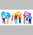 multilingual greeting group people scene vector image
