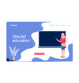 online education concept with character teacher vector image vector image