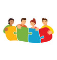 people connecting puzzle pieces teamwork vector image