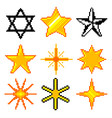 Pixel stars for games icons set vector image vector image
