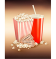 popcorn box and cola and tickets vector image vector image