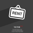 Rent icon symbol Flat modern web design with long vector image