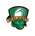 rugby ball ireland shield shamrock vector image vector image