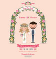 rustic blossom flowers cartoon couple wedding vector image vector image