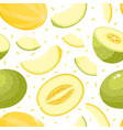 seamless pattern with cartoon melons vector image