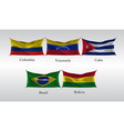 set flags of the americas waving flag of colombia vector image vector image