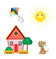 set icons kite sun house dog isolated on vector image vector image