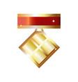 simple shine golden lozenge-shaped medal winner vector image