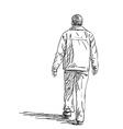 sketch man walking hand drawn back view