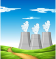 Smoke coming out of chimneys in the field vector image