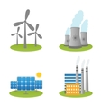 Solar windmills and nuclear power plants icons vector image
