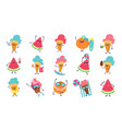 summer cute stickers beach party characters with vector image