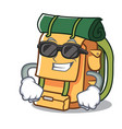 super cool backpack character cartoon style vector image