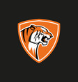 tiger shield sport emblem logo sign on vector image vector image