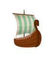 viking scandinavian draccar with sails norman vector image