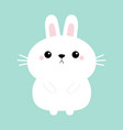 white bunny rabbit hare icon funny head face cute vector image vector image