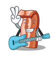 with guitar bacon mascot cartoon style vector image vector image