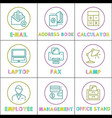 worktime and office management rounded line glyph vector image vector image