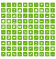 100 tension icons set grunge green vector image vector image
