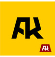 ak letters symbol a and k letters ligature vector image vector image