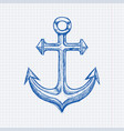 anchor blue hand drawn sketch on lined paper vector image vector image