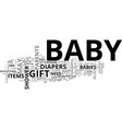 baby shower gifts text word cloud concept vector image vector image
