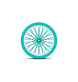 bicycle wheel in cyan design with shadow vector image vector image
